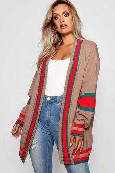 Womens Plus Contrast Stripe Oversized Cardigan - beige - 14 Plus Size Winter Outfits, Plus Size Fall Outfit, Plus Size Fashion For Women, Casual Fall Outfits, Winter Fashion Outfits, Size 16 Fashion, Casual Plus Size Outfits, Flattering Outfits, Fashion Ideas