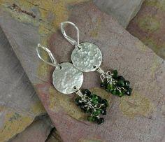 Hammered Circle & Green Stone Drop Earrings.  #Jewelry #Earrings #Necklace #Bracelet #Bangle #rings #Silver #Sterling #Gems #Jewels #Quartz #Rubies #Garnet #Amethyst #Turquoise #Swarovski #Tourmaline #Rubilite #Wirewrap #Handtied  www.cariboudenver.com