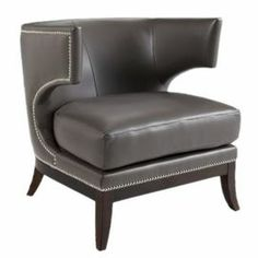 "Klismos-style wingback accent chair in gray bonded leather with silver nailhead trim.   Product: ChairConstruction Material: Solid wood and bonded leatherColor: Gray Features: Nailhead trimDimensions: 32"" H x 30.5"" W x 30.5"" D"