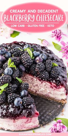 A beautifully layered blackberry cheesecake with a delicious warm spice crust., Desserts, A beautifully layered blackberry cheesecake with a delicious warm spice crust. This recipe is low carb, keto friendly, sugar-free and gluten-free. Keto Cheesecake, Blackberry Cheesecake, Blackberry Dessert Recipes Healthy, Blackberry Recipes Gluten Free, Gluten Free Cheesecake Crust, Summer Cheesecake, Blackberry Sauce, Chocolate Cheesecake Recipes, Cheesecake Cupcakes