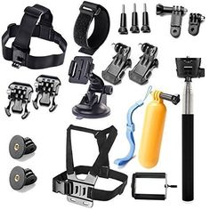 Rhodesy Accessories Bundle Kit for GoPro Hero5 Session Hero Session Hero 5 Black Hero 4 Black Silver Gopro Hero 3 Black Silver Gopro Hero 3 2 1 and SJ4000 SJ5000 SJ6000 Cameras: Chest Mount Harness Extendable Hand Monopod Floating Handle Grip Car Windshield Suction Cup Mount Head Belt Strap Mount