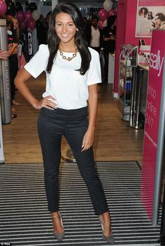 Love the cigarette trousers and white blouse!