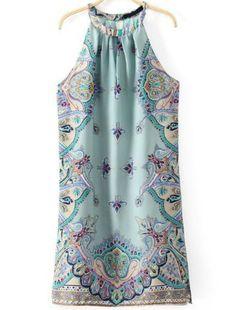 Blue Sleeveless Cashews Print Chiffon Dress - Sheinside.com Mobile Site