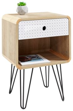 Noční stolek dekor dub koupit online Nightstand, New Homes, Table, Furniture, Home Decor, Retro Design, Grey And White, Set Of Drawers, Oak Tree