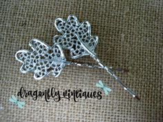 Hair Pins, Silver Tone, Leaves, Vintage Earring, Upcycled, Recycled, Repurposed {30}