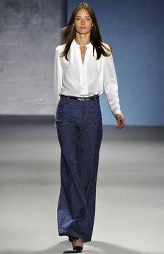 derek lam flared jeans. Love the white blouse.