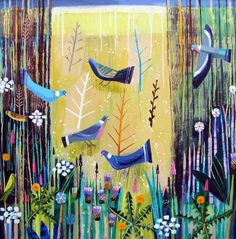 Mary Sumner - Birds in the Long Grass, acrylic on canvas (96x64cms)