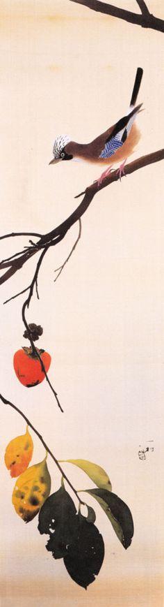 柿にかけす Isson Tanaka a Japanese Nihonga painter noted for his flower-and-bird paintings of the Amami Islands.1908-1977
