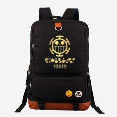 27.99$  Watch here - http://alis4a.shopchina.info/go.php?t=32663520543 - Hot Japanese Anime One Piece Death Surgeon Trafalgar D Water Law Fashion Gold Printing Backpack Canvas Women's Backpack Mochila  #buychinaproducts