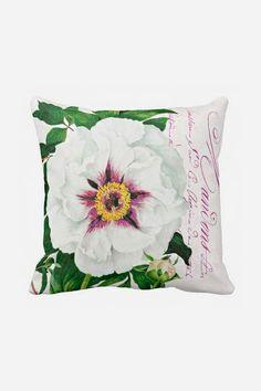 Pillow Cover Botanical White Peony Cotton