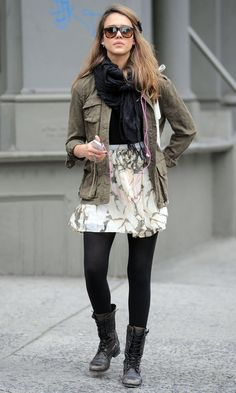 Love a girlie skirt/dress with combat boots.