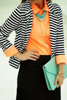 Striped blazer + bright shirt + statement necklace + skirt