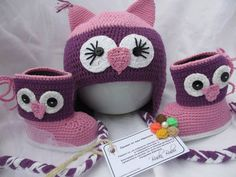 Hand Crochet Owl Hat Beanie, Crochet Owl Slippers Baby Booties, Crochet Baby Shoes, Crochet Animal