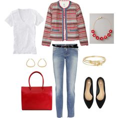 red/white/blue jeans outfit