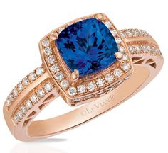 Love this sweet combination? Click the Love button! Strawberry Gold® and Vanilla Diamonds® ring centered with a Cush'n Pillow™ Blueberry Tanzanite®