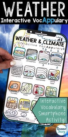 Weather and Climate Interactive VocAPPulary™ (Weather Vocabulary)  This creative resource is a simple, yet effective way for students to learn vocabulary on a specific topic! Vocabulary words included in this set: climate, atmosphere, exosphere, thermosphere, mesosphere, stratosphere, troposphere, ozone layer, humidity, fronts, global warming, greenhouse effect, drought, meteorologist, barometer, anemometer