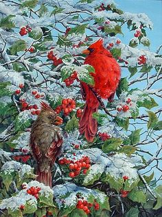 Male and Female Cardinal - Painting Art by RoseMarie Condon