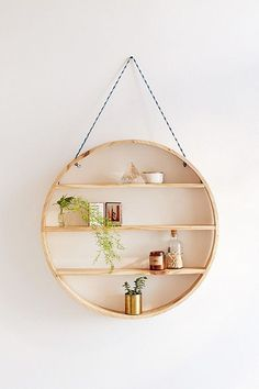 Splendid Shop Leona Hanging Circle Shelf at Urban Outfitters today. We carry all the latest styles, colors and brands for you to choose from right here. The post Shop Leona Hanging Circle Shel . Wood Wall Shelf, Wall Shelves, Wall Storage, Shelving, Diy Hanging Shelves, Floating Shelves, Circle Shelf, Diy Casa, Appartement Design