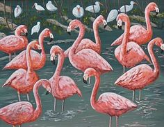 Flamingo Painting - Flamingos And Ibis by Richard Goohs