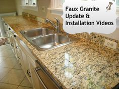 Faux Granite kitchen counters in minutes with @EZ Instant Makeover