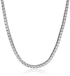 "Platinum Plated Sterling Silver Swarovski Zirconia 17"" Tennis Necklace Amazon Curated Collection http://smile.amazon.com/dp/B00FXW6RRK/ref=cm_sw_r_pi_dp_TKLbvb00ZNBEV"