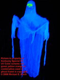Halloween Lawn Decoration Floating Blacklight Skeleton Prop Blue