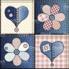 Vaqueros applique de patchwork con flores y corazones illustracion libre de derechos libre de derechos