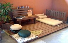 If you are a single student or working individual and have lesser space to live in, here is a perfect DIY pallet wood project for you. Re-purpose the wooden pallets into your own customized living area with a wooden platform up from floor level, a bench, a comfy place to sleep and you can add on items like planter and separators.