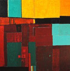 "Tim Hallinan: Mixed Media (Acrylic, Oil & Paper on Plywood) 48"" x 48"""