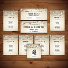 Seating Chart Template Table Number Diy Wedding By Birdiydesign