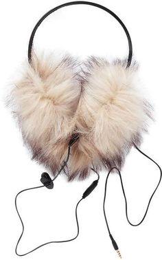 Juicy Couture Faux Fur Earmuff Headphones in Beige