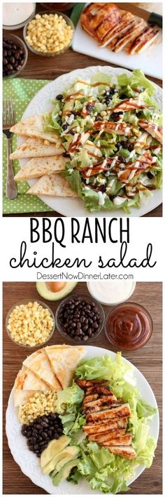BBQ Ranch Chicken Salad - Mexican flavors meet good old American barbecue in thi. - BBQ Ranch Chicken Salad – Mexican flavors meet good old American barbecue in this green salad ser - I Love Food, Good Food, Clean Eating, Healthy Eating, Ranch Chicken, Bbq Chicken Salad, Bbq Chicken Sides, Cooking Recipes, Healthy Recipes