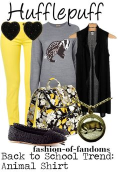 Hufflepuff / fashion-of-fandoms / Back to school trend: Animal shirt.