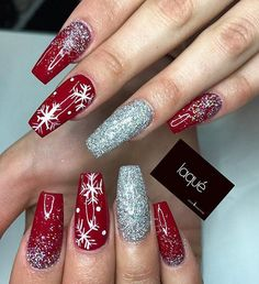 Winter nails with snowflake; red and white Christmas nails; cute and unique Christmas nails; Xmas Nails, Holiday Nails, Fun Nails, Christmas Manicure, Christmas Acrylic Nails, Winter Acrylic Nails, Valentine Nails, Halloween Nails, Acrylic Nail Designs