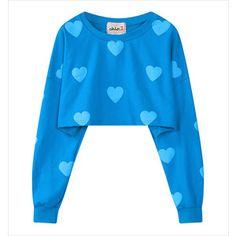 Blue Love Heart Long Sleeve Crop Sweatshirt 15SS00083-2