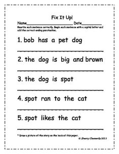 Fix It Up Sentences (Capital Letters and Ending Punctuation) and read sentences that create a simple story - 6 pages - 1st Grade Writing, Work On Writing, Teaching Writing, Writing Activities, Teaching Resources, Sentence Writing, Writing Sentences, Writing Centers, Kindergarten Language Arts
