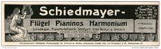 Original-Werbung/Inserat/ Anzeige 1911 - SCHIEDMAYER FLÜGELPIANOS HARMONIUM ca. 180 x 45 mm