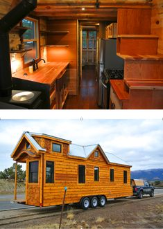 This 30′ tiny house on wheels sits on a a triple axle trailer custom fabricated for the house: 197 sq ft in the main level and an additional 100 sq ft of loft space upstairs. Two lofts, a downstairs bedroom with murphy bed, bath tub/shower, stairs, loads of storage, full size appliances, and more. There is a video tour of this custom home on the link.