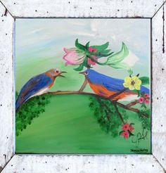Canvas Art by Jamie - Two of a Kind Bluebirds