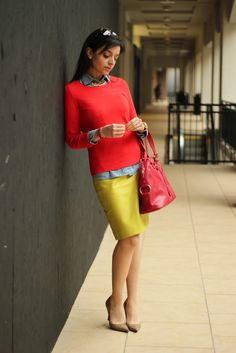 yellow pencil skirt lovely dresses + m Yellow Pencil Skirt, Pencil Skirts, Mustard Skirt, Work Chic, Warm Outfits, Casual Elegance, Lovely Dresses, Red Sweaters, Work Fashion