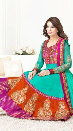Bipasha Basu In Turquoise Salwar Kameez BR100238