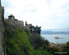 View of #Bourtzi fortress from the walls of #Akronafplia Castle in #Napflio, #Peloponnese - #Greece