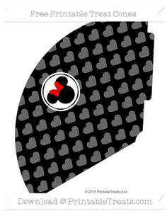 Free Black Heart Pattern  Minnie Mouse Treat Cone