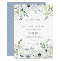 Boho White Florals Eucalyptus Leaves Wedding Invitation - tap to personalize and get yours #Invitation #wedding #florals #white #flowers #eucalyptus