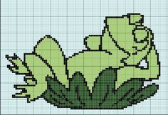 Frog x-stitch Disney Cross Stitch Patterns, Cross Stitch Borders, Cross Stitch Baby, Cross Stitch Animals, Counted Cross Stitch Patterns, Cross Stitch Charts, Cross Stitching, Cross Stitch Embroidery, Graph Crochet
