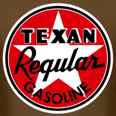 Texan Regular Gasoline Signage Men's Brown T-Shirt | Funky Family Gift Shop