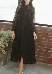 Graceful Stand Collar Long Sleeve Lace Spliced Hollow Out Dress + Solid Color Sundress Twinset For Women