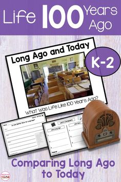 Long ago and today first grade activities includes a non fiction powerpoint, anchor charts, worksheets and mini book that compares life 100 years ago . First Grade Activities, Kindergarten Activities, Classroom Activities, Teaching Math, 100 Days Of School, School Today, School Stuff, Social Studies Resources, First Grade Classroom