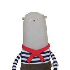 Bear Art Doll, Plush Bear with Navy & White Stripe Breton Top and Red Scarf, Linen Bear, Artist Bear, Teddy Bear, Paris, French, Poosac