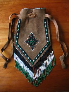 Vintage Suede Beaded Native American Pouch by SomethingofInterest
